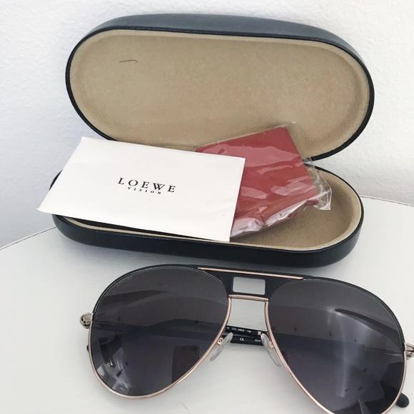 Loewe Accessories - Loewe Aviator Polarized Black Sunglasses SLW402
